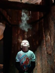 Poika seisoo metsäsuihkussa tuoksuja haistelemassa