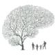 Puun muotoiset aivot jossa kuvitettu perhe